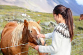 Woman petting horse on Iceland — Stock Photo