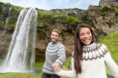 Couple wearing Icelandic sweaters — Stock Photo