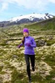 Woman athlete exercising trail runner — Stock Photo