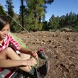 Camping woman tying hiking shoes — Stock Video #62757967