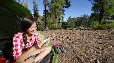 Camping girl taking selfie — Stok video