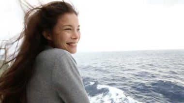 Smiling woman on boat — Stock Video