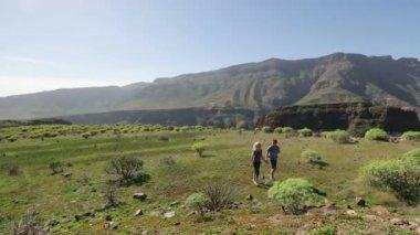 Hiking people walking in mountains — Stock Video