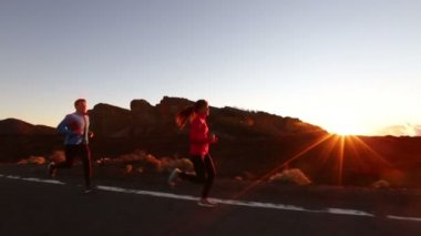 Healthy lifestyle people  running — Stock Video