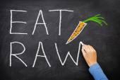EAT RAW words written on blackboard — Stock Photo