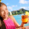 Friends drinking cocktails at Beach bar party — Stock Photo #72653587