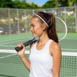 Female tennis player with tennis racket — Stock Photo #72653975