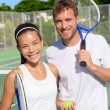 Mixed doubles couple players — Stock Photo #72655075