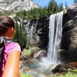 Hiker girl looking at Vernal Fall — Stock Photo #72656287