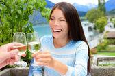 Couple toasting wine glass at restaurant — Stock Photo