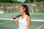 Female tennis player with tennis racket — Stock Photo