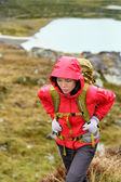 Hiker woman on trek with backpack — Stock Photo