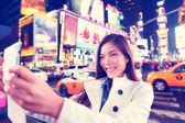 Woman taking selfie in New York — Stock Photo