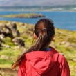 Hiking woman in hardshell jacket in Iceland — 图库照片 #73836891