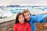 Couple taking self portrait on Iceland — Stock Photo