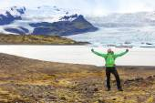 Man cheering on hike on Iceland — Stock Photo