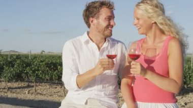 Couple drinking Wine and kissing at vineyard — Stock Video