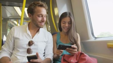 Passengers using smartphone in public transportation — Stock Video