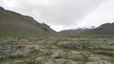 Running trail runner man in nature — Video Stock