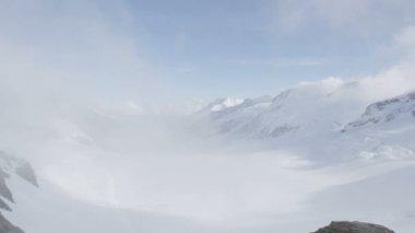 Tourist on Jungfrau by Aletsch Glacier — Stock Video