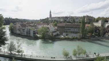 Aare river and city view — Stock Video