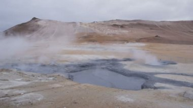 Iceland landscape volcano mudpot hot spring — Stock Video