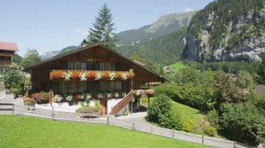 Swiss Alpenhaus alpine house in Alps — Stock Video