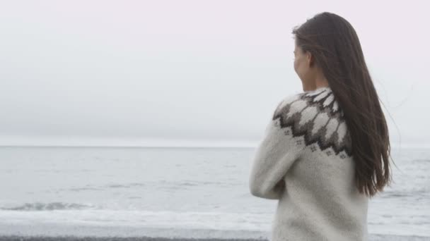 Woman standing on beach on Iceland — Vidéo