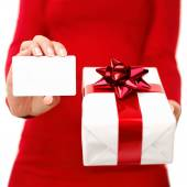 Christmas present and gift card — Stock Photo