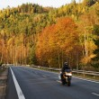 Asphalt road in the autumn landscape with a ride motorcycle, over the road forested mountain — Stock Photo #65016219