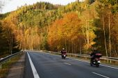 Asphalt road with a ride motorcycles in the autumn landscape — Stock Photo