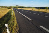 Empty asphalt road through the fields towards the horizon in a rural landscape — Stock Photo