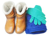 Winter shoes and accessories — Stock Photo