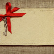 Greeting card with red ribbon and a key for Valentine's day — 图库照片 #62513911