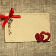 Greeting card with red ribbon and a key for Valentine's day — 图库照片 #62513967