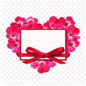 Flower heart and a card — Stock Photo