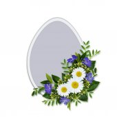 Wild flowers bouquet and Easter egg — Stock Photo