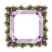 Satin frame and flowers — Stock Photo