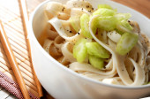 Udon pasta oriental chinese or japanese spaguetti — Stock Photo