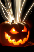 Hallowen pumpkin hell fire lights — Stock Photo