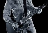 Playing rhythm & blues guitar — Foto Stock