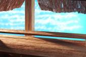 Nice wooden snack bar on the beach — Stock Photo