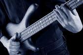 Slap bass in blue — Stock Photo