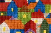 Kříž-steh práce, domy — Stock fotografie