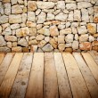 Wooden slats with stone wall — Stock Photo #64505885