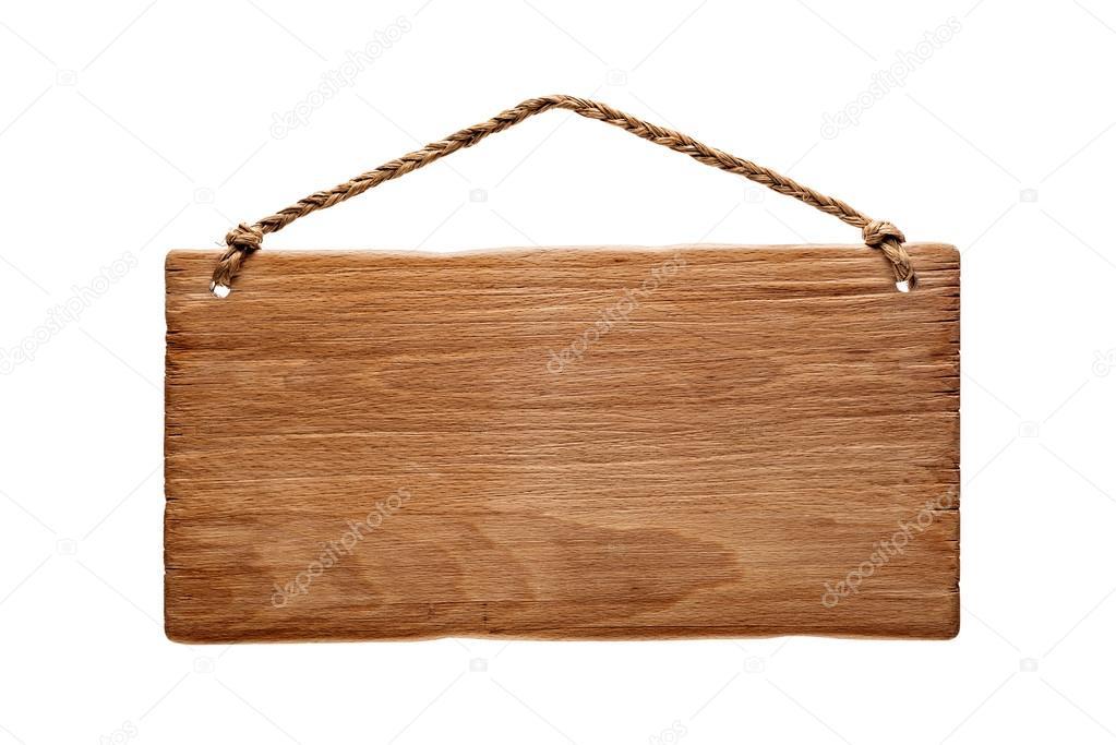Letrero de madera colgado de una cuerda foto de stock - Letreros en madera ...