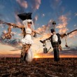 The bride and groom scarecrows — Stock Photo #70032927