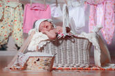Newborn baby sleeping after washing — Stock Photo