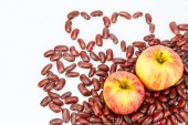 Two apple on red bean — Stock Photo