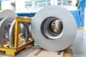 Rolls of metal sheet in factory — Stock Photo